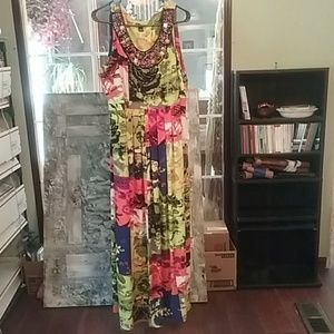 Colorful dress, beaded size 2X comfortable, cool